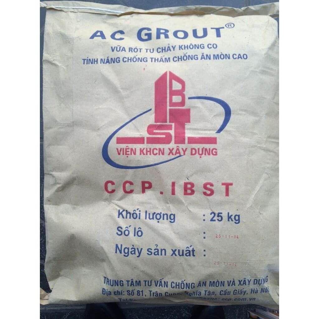 AC Grout (Viện IBST) VỮA TỰ CHẢY KHÔNG CO NGÓT CỪỜNG ĐỘ CAO GỐC XIMANG